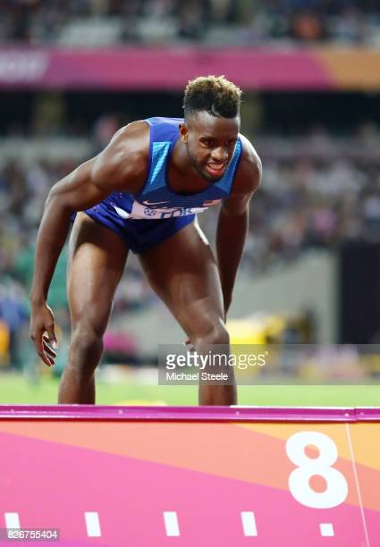 Jarrion Lawson of the United States awaits the measurement of his final jump in the Men's Long Jump final during day two of the 16th IAAF World...