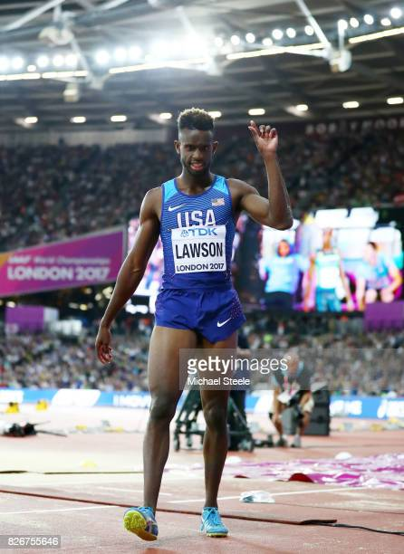 Jarrion Lawson of the United States celebrates finishing in second place in the Men's Long Jump final during day two of the 16th IAAF World Athletics...