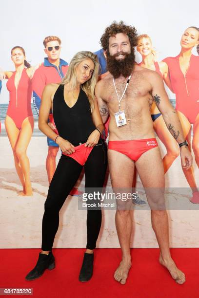 Jarrod Allen and partner attend the Australian premiere of 'Baywatch' at Hoyts EQ on May 18 2017 in Sydney Australia