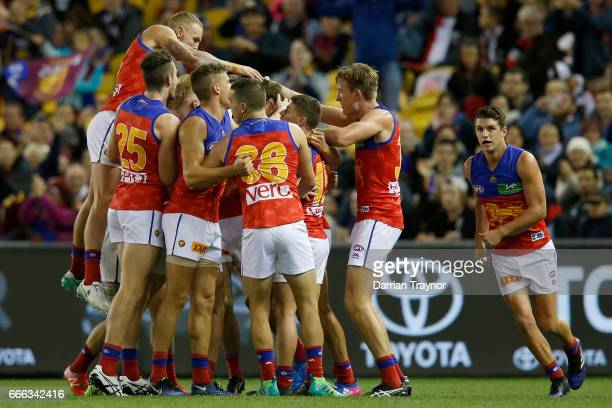 Jarrod Berry of the Lions celebrates his first goal in his first AFL snior match during the round three AFL match between the St Kilda Saints and the...