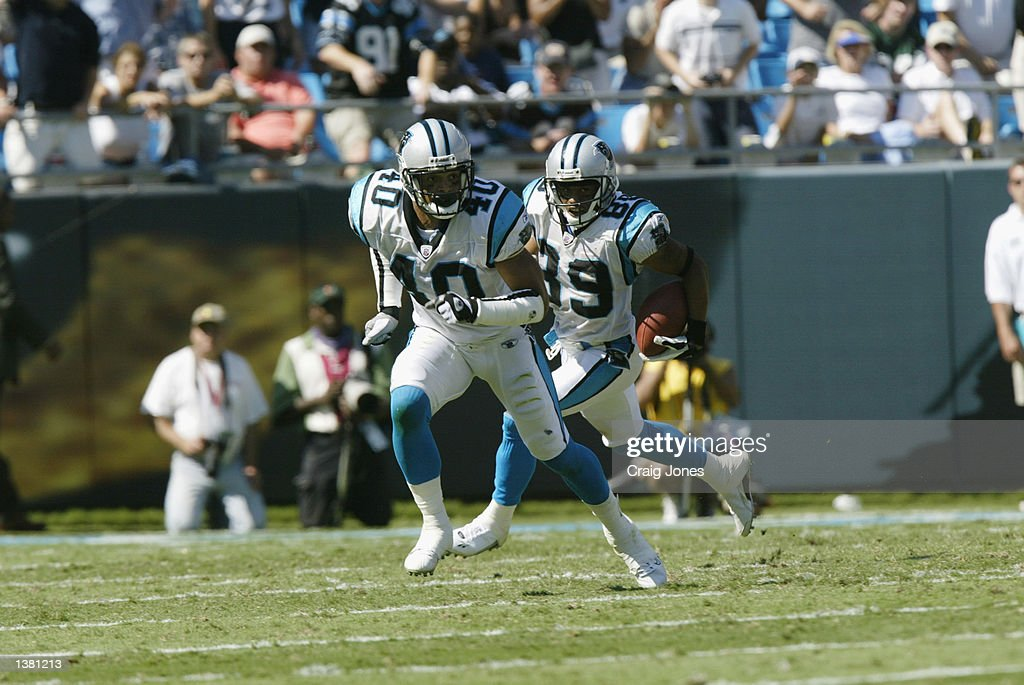Jarrod Cooper #40 of the Carolina Panthers runs down the field during the game against the Baltimore Ravens on September 8, 2002 at Ericsson Stadium in Charlotte, North Carolina. The Panthers defeated the Ravens 10-7.
