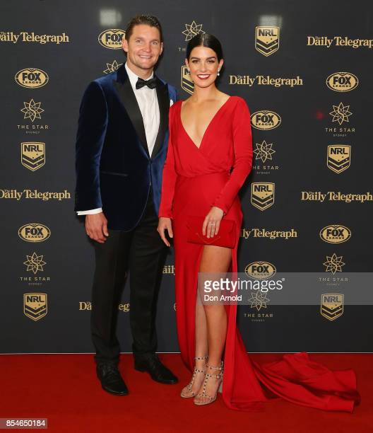Jarrod Croker and Brittany Wicks arrives ahead of the Dally M Awards at The Star on September 27 2017 in Sydney Australia