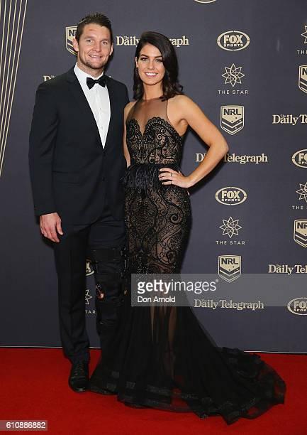 Jarrod Croker and Brittney Wicks arrive at the 2016 Dally M Awards at Star City on September 28 2016 in Sydney Australia