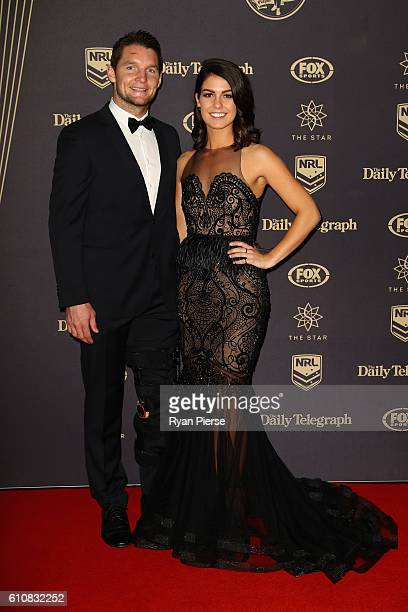 Jarrod Croker of the Canberra Raiders and Brittany Wicks arrive at the 2016 Dally M Awards at Star City on September 28 2016 in Sydney Australia
