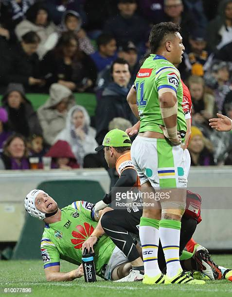 Jarrod Croker of the Raiders appears injured during the NRL Preliminary Final match between the Melbourne Storm and the Canberra Raiders at AAMI Park...
