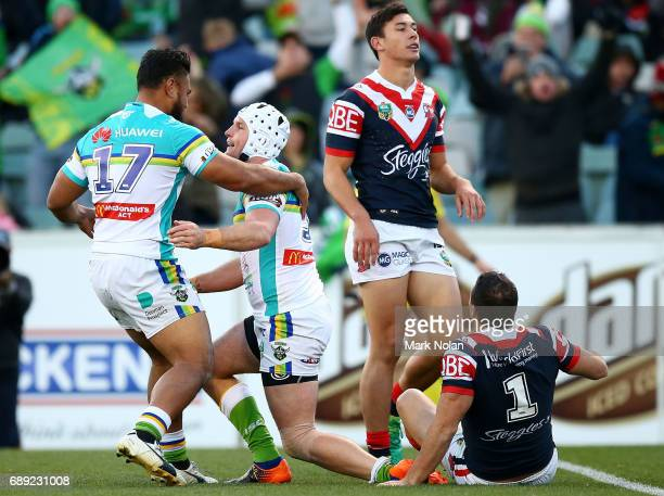 Jarrod Croker of the Raiders celebrates scoring a try during the round 12 NRL match between the Canberra Raiders and the Sydney Roostrers at GIO...