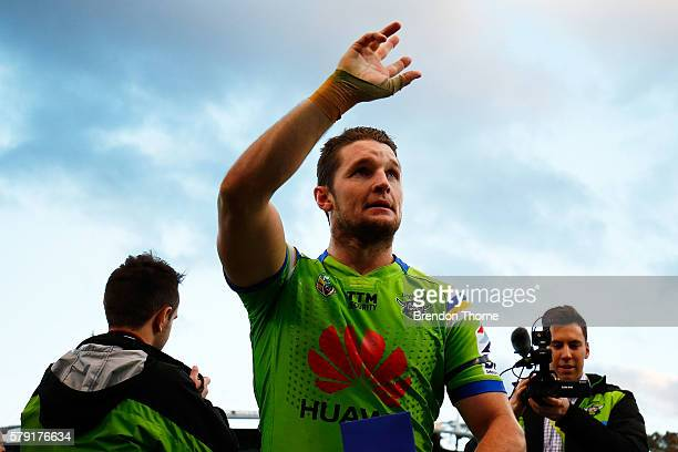 Jarrod Croker of the Raiders celebrates with fans following the round 20 NRL match between the Canberra Raiders and the New Zealand Warriors at GIO...