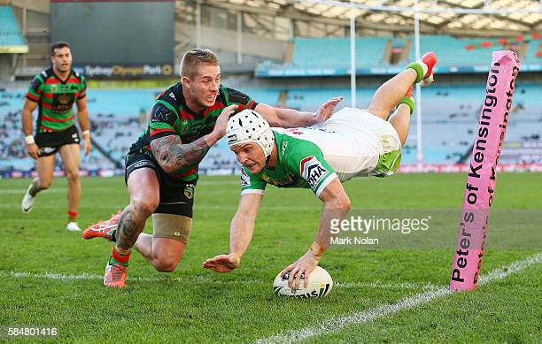 Jarrod Croker of the Raiders dives to score a try during the round 21 NRL match between the South Sydney Rabbitohs and the Canberra Raiders at ANZ...