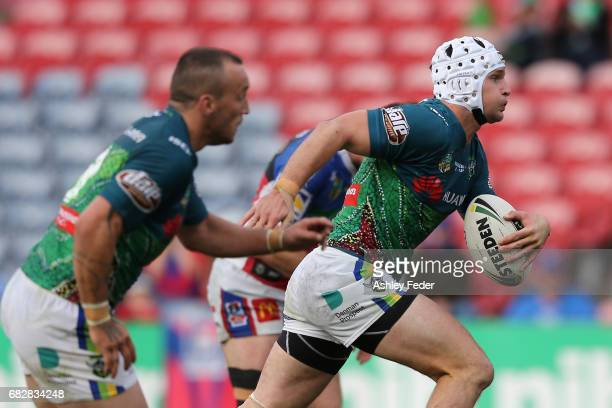Jarrod Croker of the Raiders in action during the round 10 NRL match between the Newcastle Knights and the Canberra Raiders at McDonald Jones Stadium...