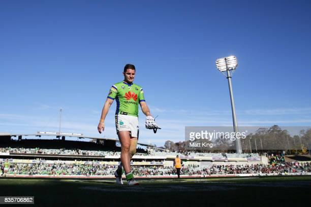 Jarrod Croker of the Raiders looks dejected as he leaves the field at fulltime during the round 24 NRL match between the Canberra Raiders and the...