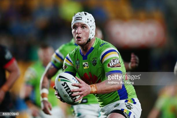 Jarrod Croker of the Raiders makes a run during the round 23 NRL match between the New Zealand Warriors and the Canberra Raiders at Mt Smart Stadium...
