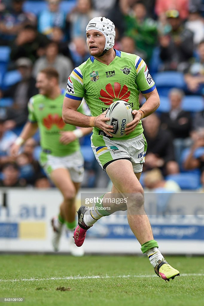 Jarrod Croker of the Raiders runs into score a try during the round 16 NRL match between the Gold Coast Titans and the Canberra Raiders at Cbus Super Stadium on June 26, 2016 in Gold Coast, Australia.