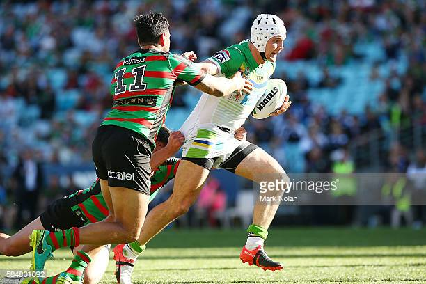 Jarrod Croker of the Raiders runs the ball during the round 21 NRL match between the South Sydney Rabbitohs and the Canberra Raiders at ANZ Stadium...