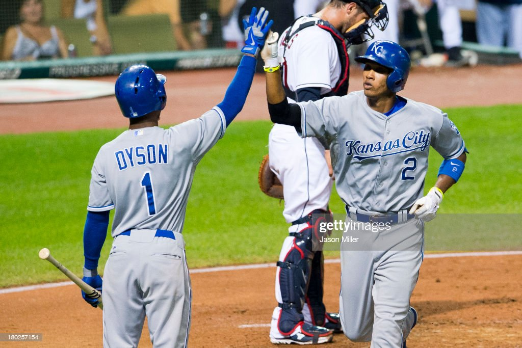 Jarrod Dyson #1 celebrates with <a gi-track='captionPersonalityLinkClicked' href=/galleries/search?phrase=Alcides+Escobar&family=editorial&specificpeople=4845889 ng-click='$event.stopPropagation()'>Alcides Escobar</a> #2 of the Kansas City Royals after Escobar hit a solo home run during the fifth inning against the Cleveland Indians at Progressive Field on September 10, 2013 in Cleveland, Ohio.