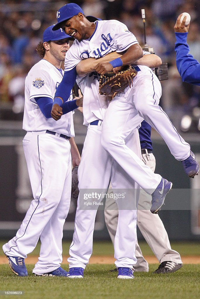 Jarrod Dyson #1 celebrates with <a gi-track='captionPersonalityLinkClicked' href=/galleries/search?phrase=Eric+Hosmer&family=editorial&specificpeople=7091345 ng-click='$event.stopPropagation()'>Eric Hosmer</a> #35 of the Kansas City Royals after the victory over the Cleveland Indians on Friday, September 21, 2012 at Kauffman Stadium in Kansas City, Missouri.