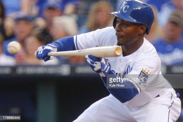 Jarrod Dyson of the Kansas City Royals attempts to lay down a bunt against the Detroit Tigers in the third inning on September 7 2013 at Kauffman...