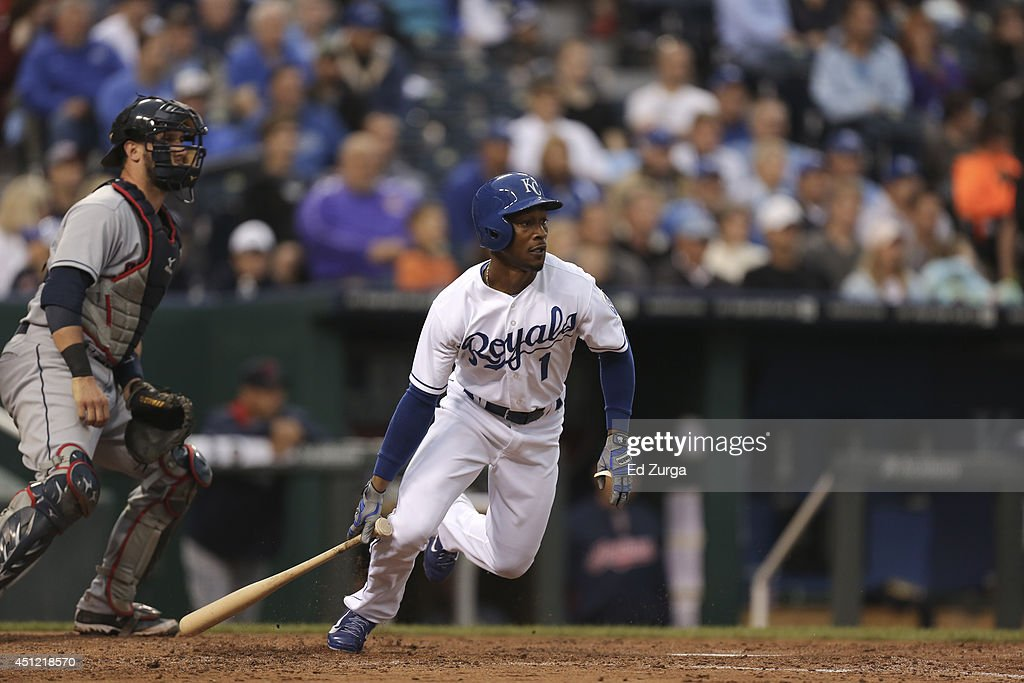 <a gi-track='captionPersonalityLinkClicked' href=/galleries/search?phrase=Jarrod+Dyson&family=editorial&specificpeople=6780110 ng-click='$event.stopPropagation()'>Jarrod Dyson</a> #1 of the Kansas City Royals hits against the Cleveland Indians at Kauffman Stadium on June 10, 2014 in Kansas City, Missouri.