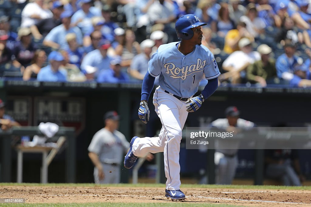 Jarrod Dyson #1 of the Kansas City Royals runs to first after hitting against the Cleveland Indians at Kauffman Stadium on June 11, 2014 in Kansas City, Missouri.