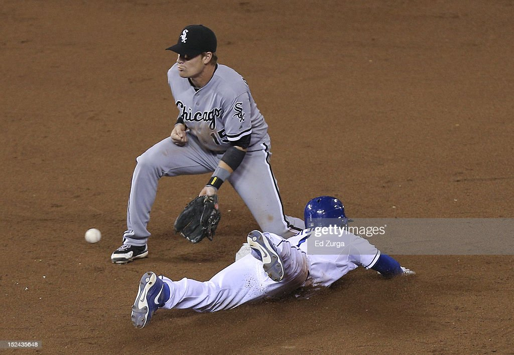 Jarrod Dyson #1 of the Kansas City Royals slides into second for a steal past <a gi-track='captionPersonalityLinkClicked' href=/galleries/search?phrase=Gordon+Beckham&family=editorial&specificpeople=5411079 ng-click='$event.stopPropagation()'>Gordon Beckham</a> #15 of the Chicago White Sox in the ninth inning at Kauffman Stadium on September 20, 2012 in Kansas City, Missouri. The Royals won 4-3.