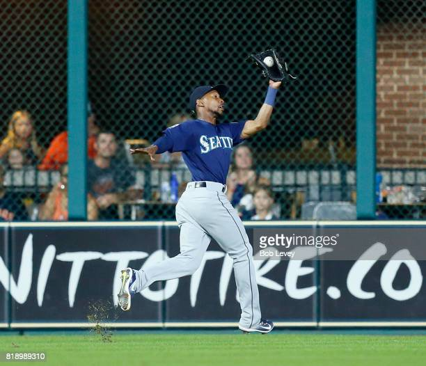 Jarrod Dyson of the Seattle Mariners makes a running catch on a line drive byb Yuli Gurriel of the Houston Astros in the sixth inning at Minute Maid...