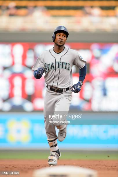 Jarrod Dyson of the Seattle Mariners rounds the bases after hitting a home run against the Minnesota Twins during the game on June 13 2017 at Target...