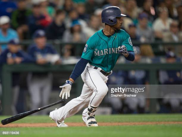 Jarrod Dyson of the Seattle Mariners takes a swing during an atbat in a game against the Tampa Bay Rays at Safeco Field on June 2 2017 in Seattle...
