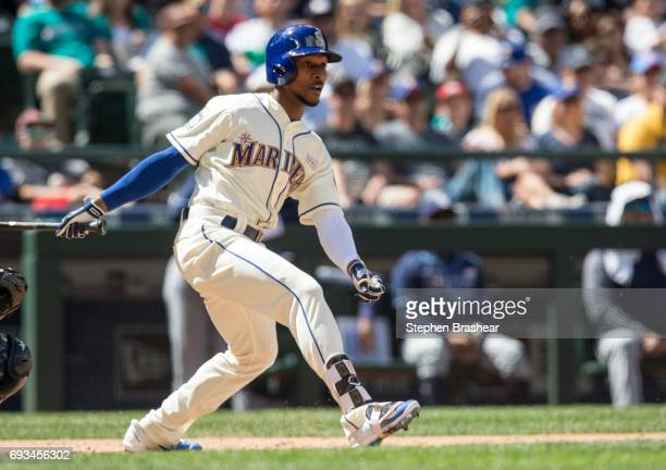 Jarrod Dyson of the Seattle Mariners takes a swing during an atbat in a game against the Tampa Bay Rays at Safeco Field on June 4 2017 in Seattle...