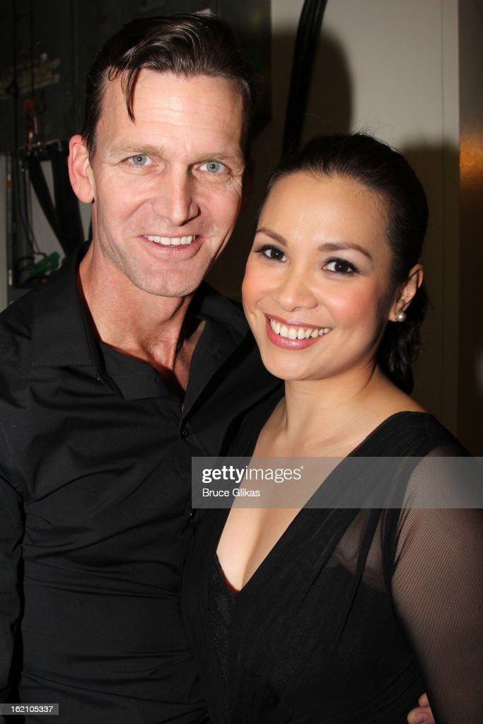 Jarrod Emick and Lea Salonga pose backstage at 'Ragtime' on Broadway at Avery Fisher Hall on February 18, 2013 in New York City.