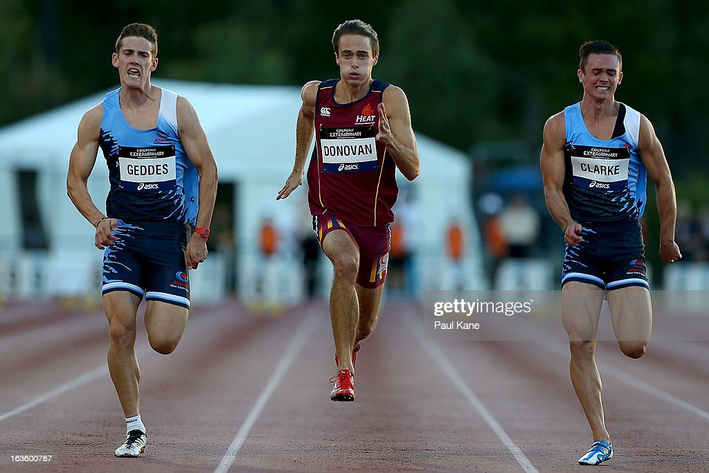 Jarrod Geddes of New South Wales, Hugh Donnovan of Queensland and Josh Clarke of New South Wales compete in the men's under 20 100 metre final during day two of the Australian Junior Championships at the WA Athletics Stadium on March 13, 2013 in Perth, Australia.