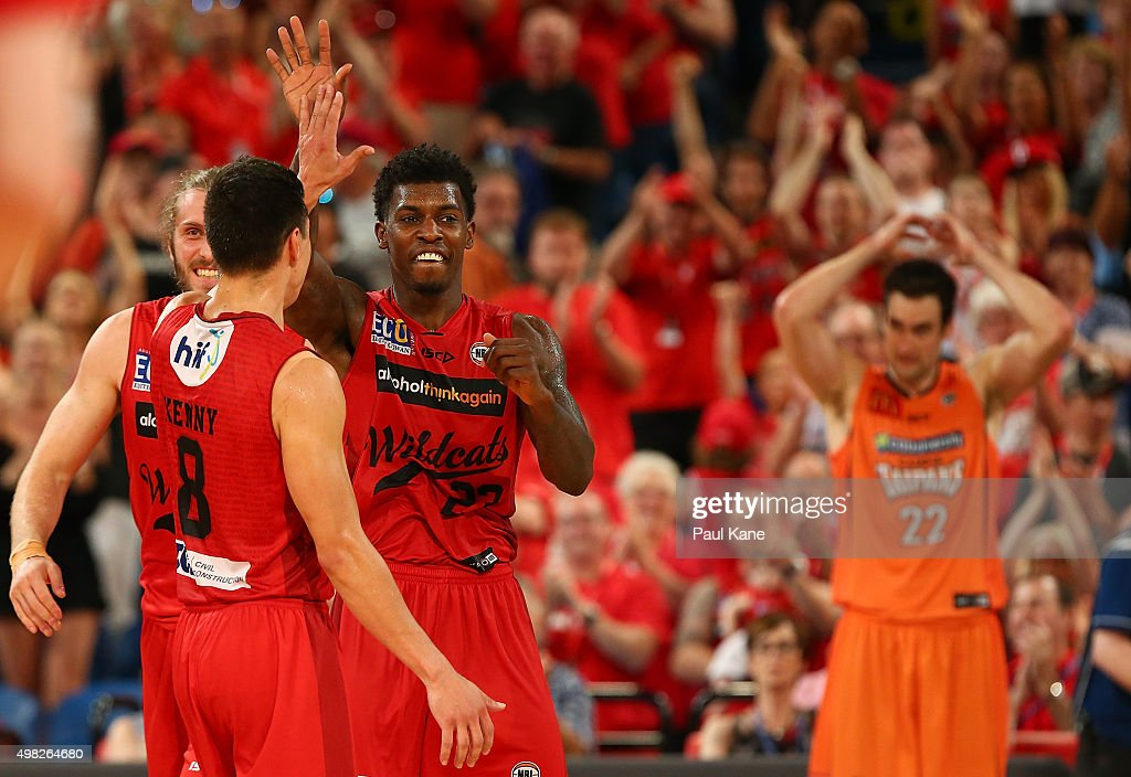 Jarrod Kenny and <a gi-track='captionPersonalityLinkClicked' href=/galleries/search?phrase=Casey+Prather&family=editorial&specificpeople=7358715 ng-click='$event.stopPropagation()'>Casey Prather</a> of the Wildcats celebrate after winning the round seven NBL match between the Perth Wildcats and the Cairns Taipans at Perth Arena on November 22, 2015 in Perth, Australia.