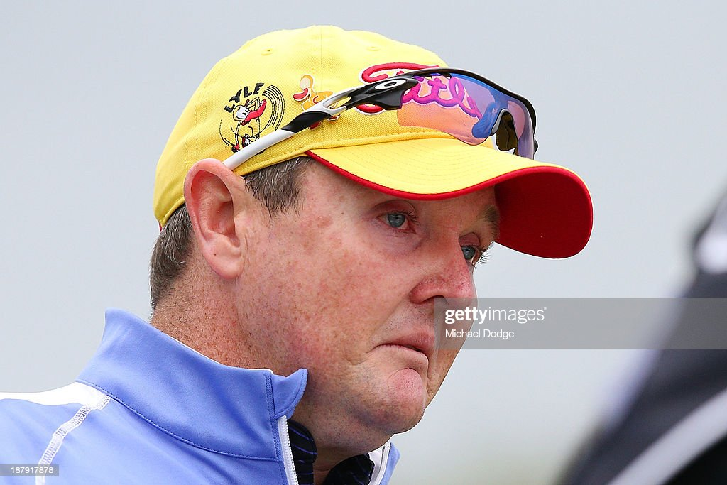 <a gi-track='captionPersonalityLinkClicked' href=/galleries/search?phrase=Jarrod+Lyle&family=editorial&specificpeople=210982 ng-click='$event.stopPropagation()'>Jarrod Lyle</a> of Australia cries on the first tee after his shot during round one of the 2013 Australian Masters at Royal Melbourne Golf Course on November 14, 2013 in Melbourne, Australia.