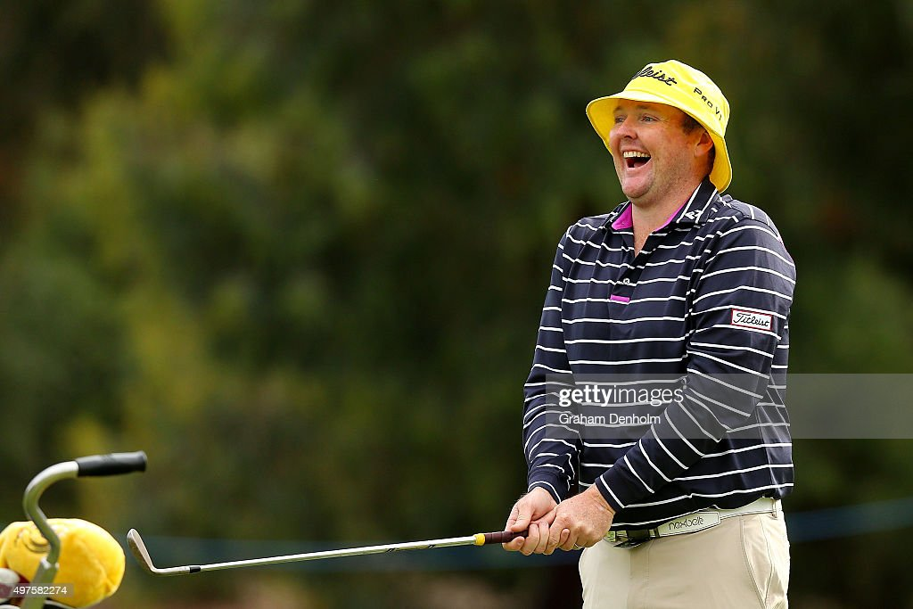 <a gi-track='captionPersonalityLinkClicked' href=/galleries/search?phrase=Jarrod+Lyle&family=editorial&specificpeople=210982 ng-click='$event.stopPropagation()'>Jarrod Lyle</a> of Australia laughs during the Pro-Am ahead of the 2015 Australian Masters at Huntingdale Golf Course on November 18, 2015 in Melbourne, Australia.