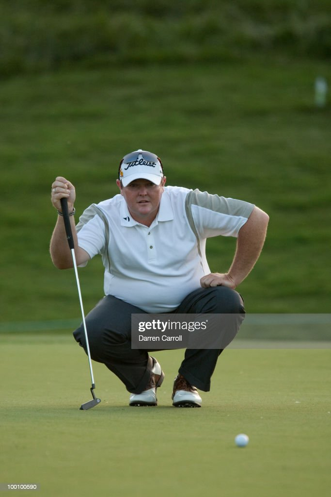 Jarrod Lyle of Australia lines up a putt during the first round of the HP Byron Nelson Championship at TPC Four Seasons Resort Las Colinas on May 20, 2010 in Irving, Texas.