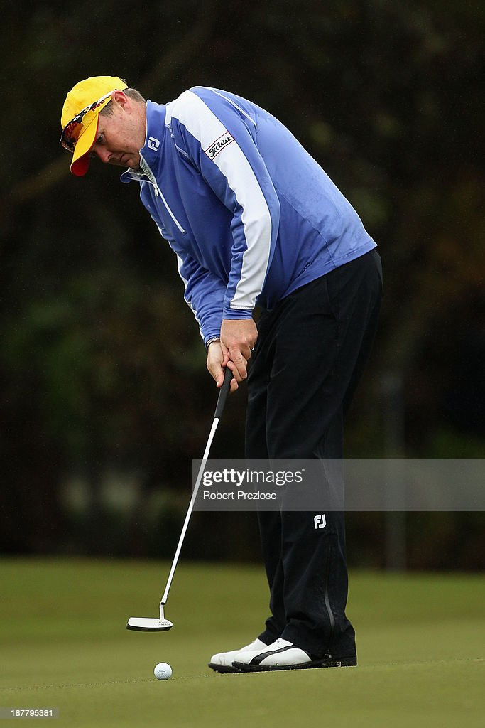 Jarrod Lyle of Australia putts on the 10th hole during the Pro Am ahead of the 2013 Australian Masters at Royal Melbourne Golf Course on November 13, 2013 in Melbourne, Australia.