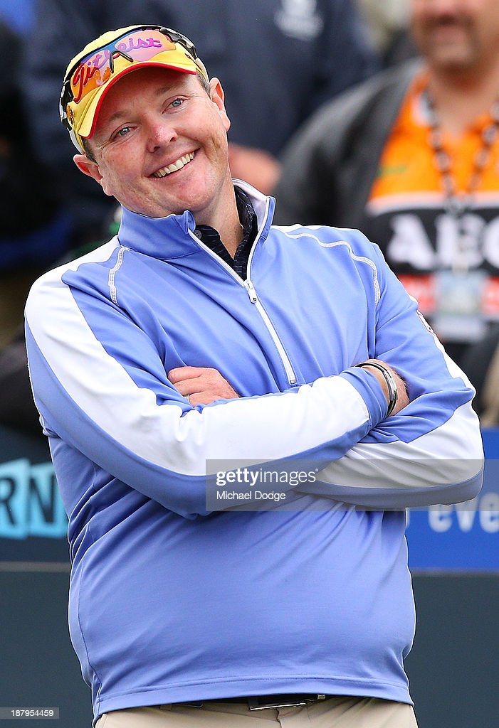 Jarrod Lyle of Australia reacts on the first tee before his shot during round one of the 2013 Australian Masters at Royal Melbourne Golf Course on November 14, 2013 in Melbourne, Australia.