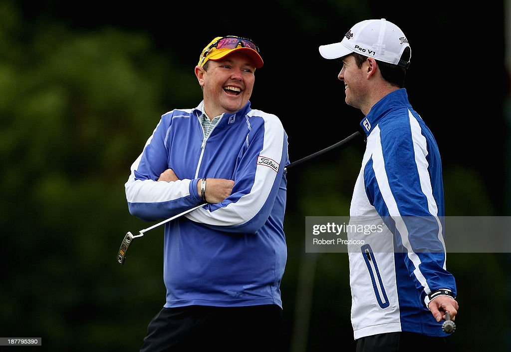 Jarrod Lyle of Australia relaxes on the 10th hole during the Pro Am ahead of the 2013 Australian Masters at Royal Melbourne Golf Course on November 13, 2013 in Melbourne, Australia.