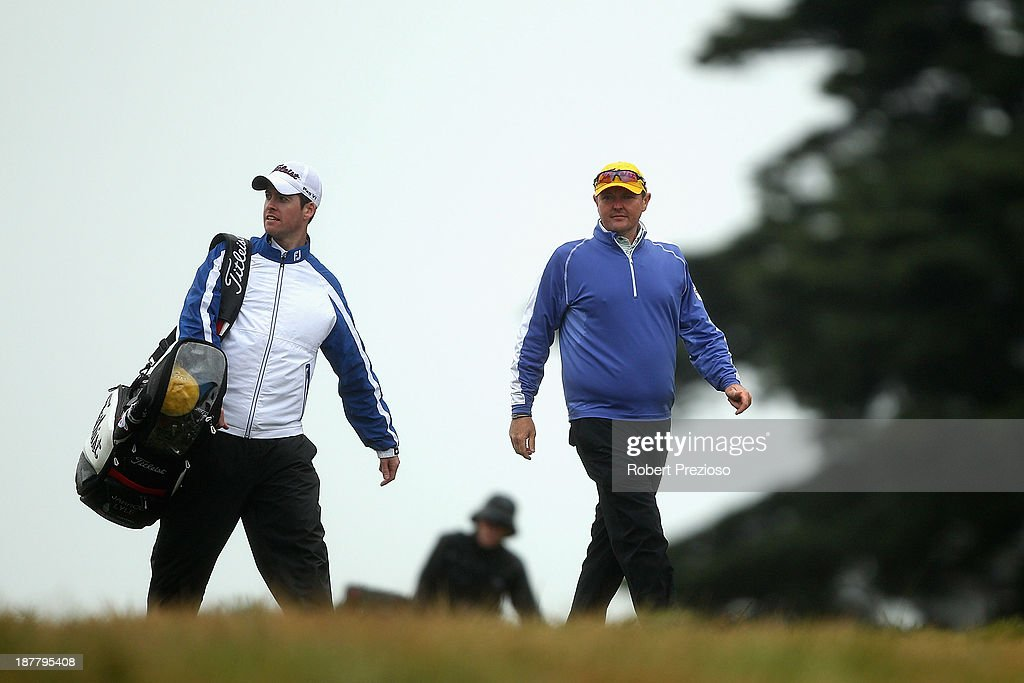 Jarrod Lyle of Australia walks along the 10th hole during the Pro Am ahead of the 2013 Australian Masters at Royal Melbourne Golf Course on November 13, 2013 in Melbourne, Australia.