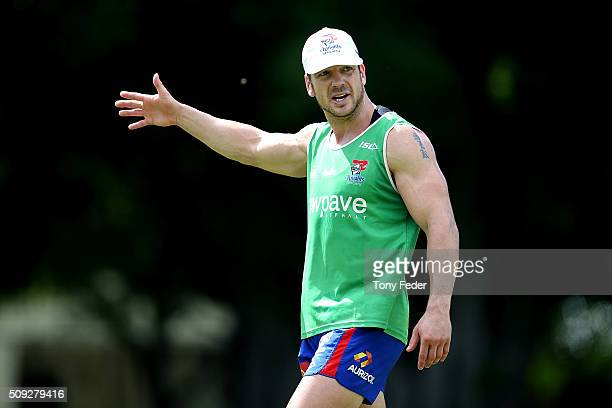 Jarrod Mullen of the Knights during a Newcastle Knights NRL preseason training session at Hunter Stadium on February 10 2016 in Newcastle Australia