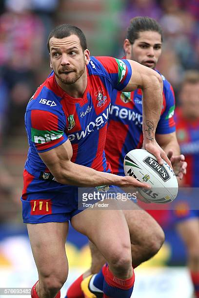 Jarrod Mullen of the Knights in action during the round 19 NRL match between the Newcastle Knights and the Melbourne Storm at Hunter Stadium on July...