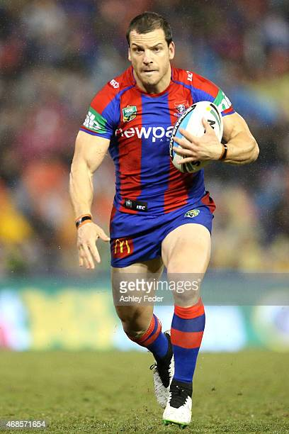 Jarrod Mullen of the Knights in action during the round five NRL match between the Newcastle Knights and the St George Illawarra Dragons at Hunter...