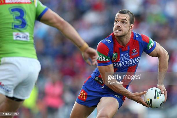 Jarrod Mullen of the Knights in action during the round three NRL match between the Newcastle Knights and the Canberra Raiders at Hunter Stadium on...