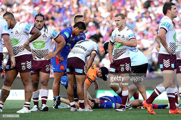 Jarrod Mullen of the Knights lays on the ground injured during the round eight NRL match between the Newcastle Knights and the Manly Sea Eagles at...