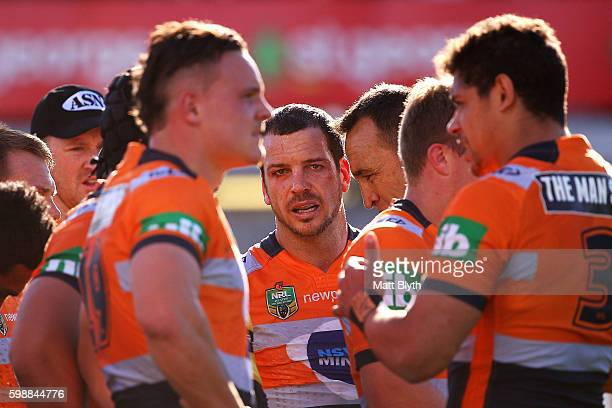 Jarrod Mullen of the Knights looks on after a Dragons try during the round 26 NRL match between the St George Illawarra Dragons and the Newcastle...