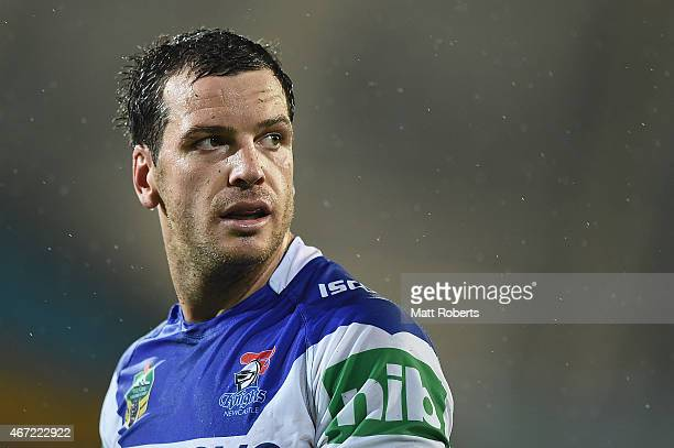 Jarrod Mullen of the Knights looks on during the round three NRL match between the Gold Coast Titans and the Newcastle Knights at Cbus Super Stadium...