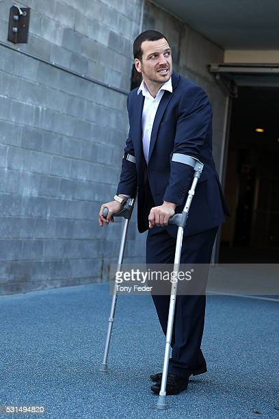 Jarrod Mullen of the Knights on crutches during the round 10 NRL match between the Newcastle Knights and the Cronulla Sharks at Hunter Stadium on May...