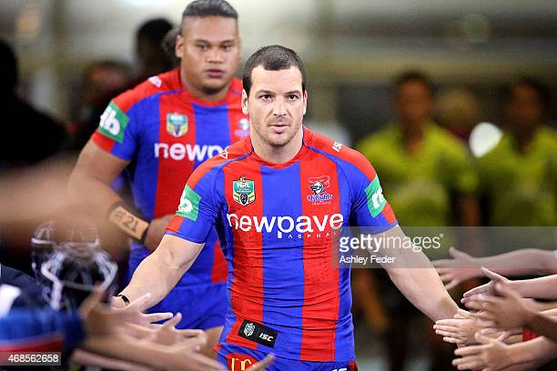 Jarrod Mullen of the Knights walks onto the ground during the round five NRL match between the Newcastle Knights and the St George Illawarra Dragons...