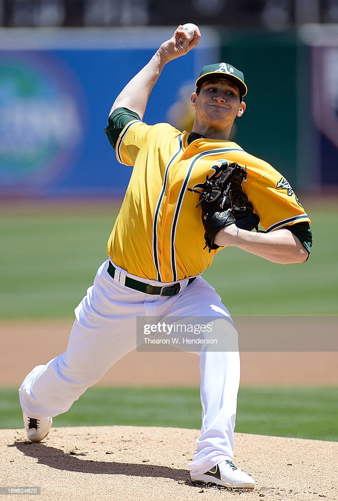 <a gi-track='captionPersonalityLinkClicked' href=/galleries/search?phrase=Jarrod+Parker&family=editorial&specificpeople=5970942 ng-click='$event.stopPropagation()'>Jarrod Parker</a> #11 of the Oakland Athletics pitchers against the Chicago White Sox at O.co Coliseum on June 2, 2013 in Oakland, California.