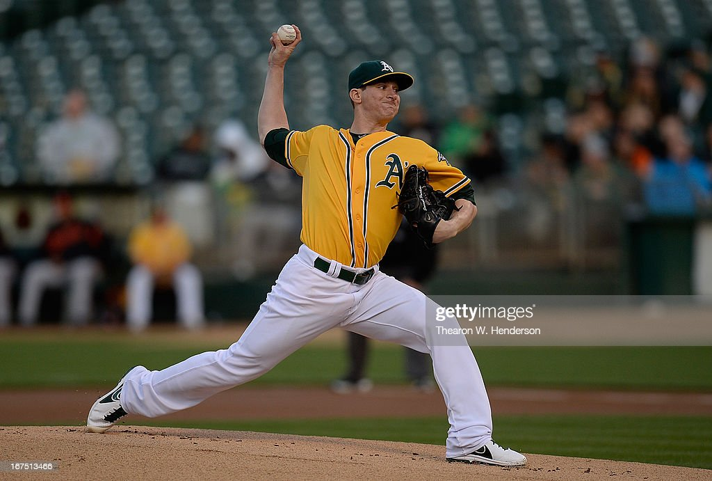 <a gi-track='captionPersonalityLinkClicked' href=/galleries/search?phrase=Jarrod+Parker&family=editorial&specificpeople=5970942 ng-click='$event.stopPropagation()'>Jarrod Parker</a> #11 of the Oakland Athletics pitches against the Baltimore Orioles in the first inning at O.co Coliseum on April 25, 2013 in Oakland, California.