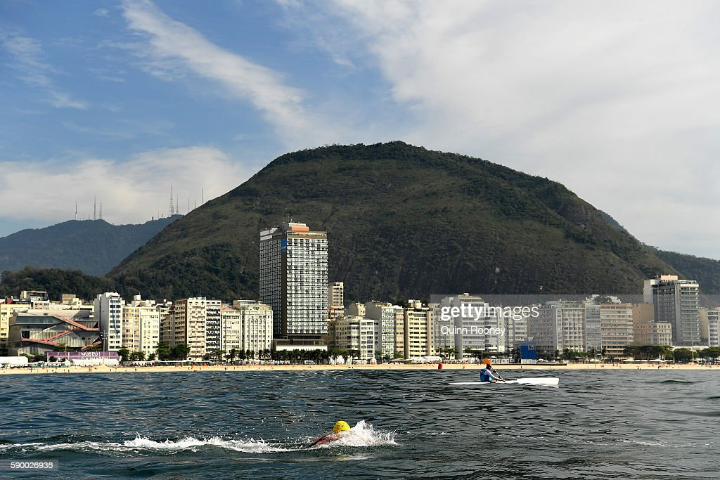 Jarrod Poort of Australia competes in the Men's 10km Marathon Swim on Day 11 of the Rio 2016 Olympic Games at Fort Copacabana on August 16 2016 in...