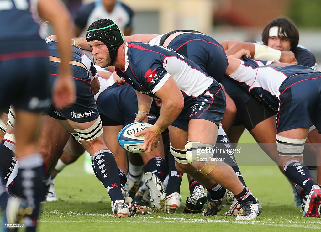 Jarrod Saffy of the Rebels runs with the ball during the Super Rugby trial match between the Waratahs and the Rebels at North Hobart Stadium on February 2, 2013 in Hobart, Australia.